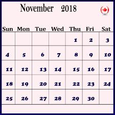 Calendar Template Online November 2018 Calendar Template Canada Online Download
