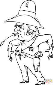 Cowboy Sheriff Met Tarwe In De Mond Kleurplaat Gratis Kleurplaten