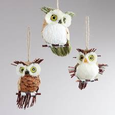 how to make bird ornaments for tree out of pine cones | With the holiday  season  Christmas OwlsNatural ...