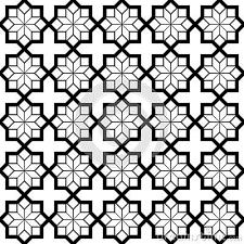 Arabic Pattern Simple Black And White Arabic Geometric Seamless Pattern