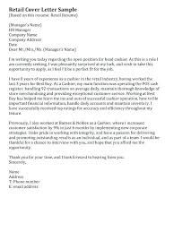 Fashion Sales Associate Cover Letter Retail Covering Letter Example