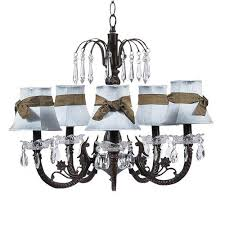 jubilee collection waterfall mocha five light chandelier with plain blue with sash chandelier shades