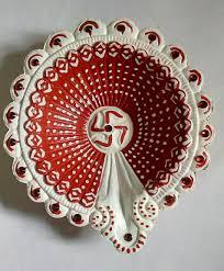 Diya Painting Designs Diwali Diya Lovely Combination Like Red And White
