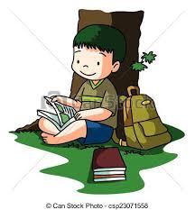 boy reading book under tree csp23071558
