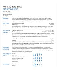 select template blue skies builder resume