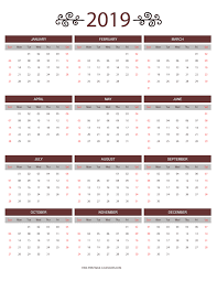 At A Glance Yearly Calendars 2019 Year At A Glance Printable Calendar Magdalene Project Org
