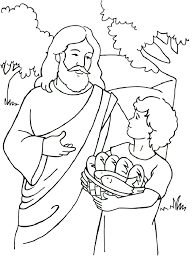 Small Picture Bible Story Coloring Pages Jesus Feeds the Multitudes