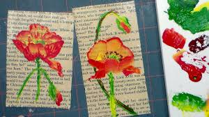 book page art ideas how to paint a poppy in acrylics on an old book page