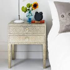 bed side furniture. embossed white metal two drawer bedside table bed side furniture