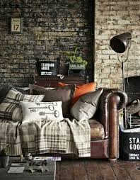 masculine furniture. Masculine Living Room With Brick Walls And Leather Sofa : Upscale Appeal Furniture Pieces