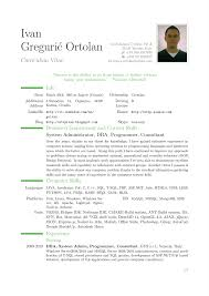 Resume Template Latex Examples Modern Cv Ivan Greguric Ortolan The