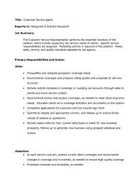 Customer Service Job Summary Representative Description Resume And