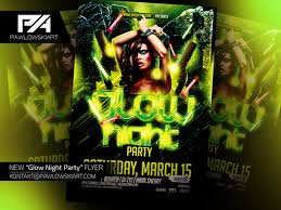 glow flyer glow night party flyer template download psd on behance