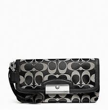 COACH KRISTIN SIGNATURE LARGE FLAP WRISTLET~SV BLACK WHITE BLACK F48980   Handbags  Amazon.com