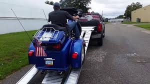 Loading a trike into a pickup truck! Loadall motorcycle ramp - YouTube