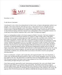 Recommendation Letter For Grad School Free 9 Letter Of Recommendation Sample