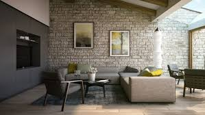 this classic stone wall treatment provides an interesting contrast to the modern furnishings and helps to soften the effect of the minimalistic