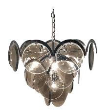 chrome and glass chandelier four tier smoke disc for centauri halogen globe pendant