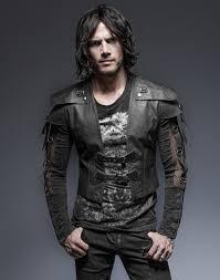 black short men jacket with straps warrior armor vampire meval punk rave