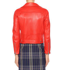 acne studios mock leather jacket red lining 52 viscose 48 cotton fully lined 100