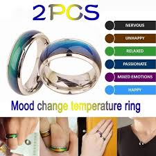 Mood Ring Emotions Chart 2pc Stainless Ring Changing Color Mood Rings Feeling Emotion Temperature Ring Wide 6mm Smart Jewelry