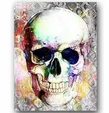 skull canvas skull head art sugar