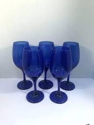 blue libbey glasses details about vintage water wine goblets glasses teardrop cobalt blue vintage libbey blue