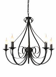 pendant light chandelier antique white or black 5xe14 360mm high