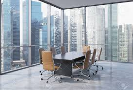 office conference room. Panoramic Conference Room In Modern Office Singapore. Brown Chairs And A Black Table.