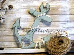 wooden anchor wall decor hmade navy large