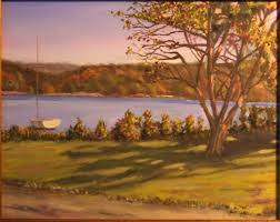 september shadows pettipaug yacht club fine art oil painting by daniel s dahlstrom chester connecticut artist