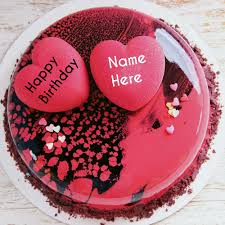 Type Name On Special Birthday Cake With Hearts For Love