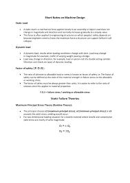 Factor Of Safety In Machine Design Short Note On Machine Design Notes