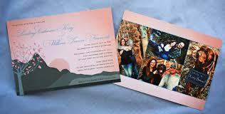 Collage Wedding Invitations Blush Peach Blue Gray Summer Mountain Sunset Wedding Invitations