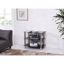 wide black tempered glass tv stand
