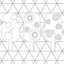 Kleurplaat Pagina Vectorillustratie Van Fruit Consumptie Ijs
