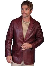 mens scully black cherry lambskin leather western blazer