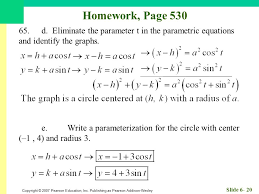 eliminate the parameter t in the parametric equations