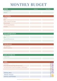 Monthly Home Budget Template Download Printable Monthly Household Budget Pdf