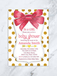 baby girl invite its a girl baby shower invitation red bow baby shower