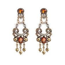 retro style pearl beaded champagne rhinestone chandelier earrings