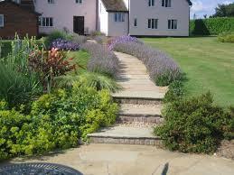 garden path paving with garden steps