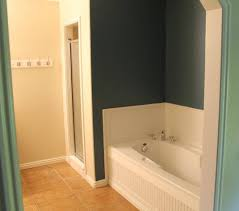 our cur master bathroom has a small shower nestled next to a built in tub the shower is not only cramped but it has a lowered ceiling due to the