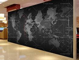 black and white detailed map mural custom made to suit your wall size