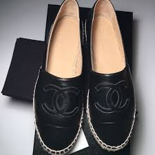 chanel loafers. chanel shoes - bnib 2017 chanel espadrilles in black lambskin loafers l