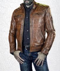 mens cafe racer brown retro style motorcycle biker genuine jacket