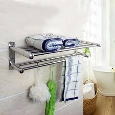 50cm Wall-Mounted Storage Shelves Bathroom Towel Rack Stainless ...