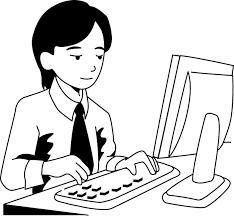 コンピュータ操作をする人物のイラスト 無料ビジネスイラスト素材のビジソザ