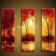 Online Get Cheap Hand Painted 3 Piece Canvas Wall Art Red Tree Oil In 3  Piece