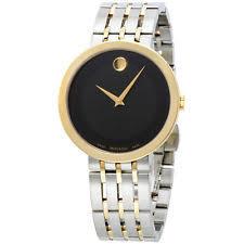 movado esperanza gold wristwatches movado esperanza black dial two tone stainless steel men s watch 0607058